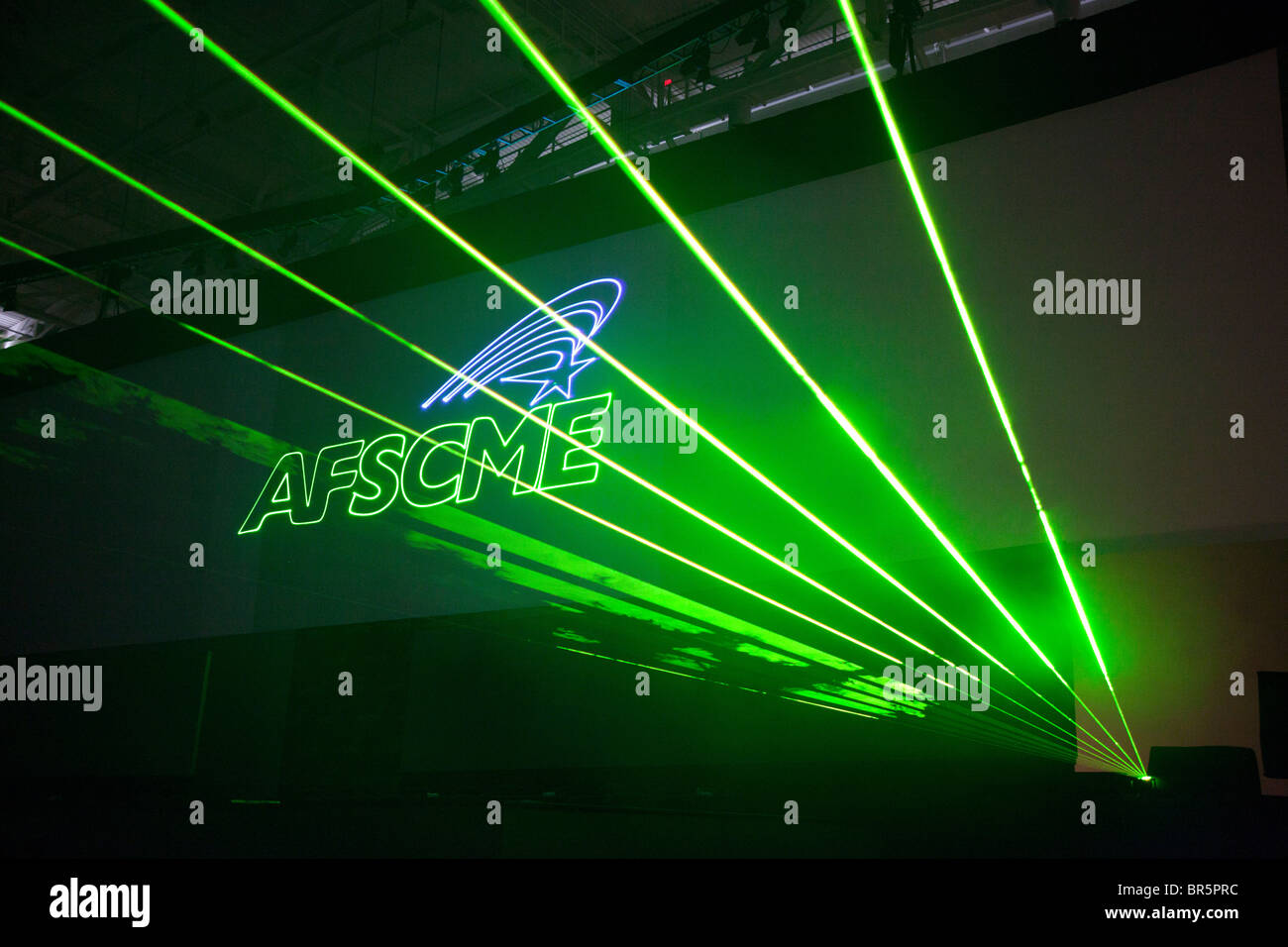 Boston, Massachusetts - A laser light show duriing the convention of the public employees union AFSCME. - Stock Image