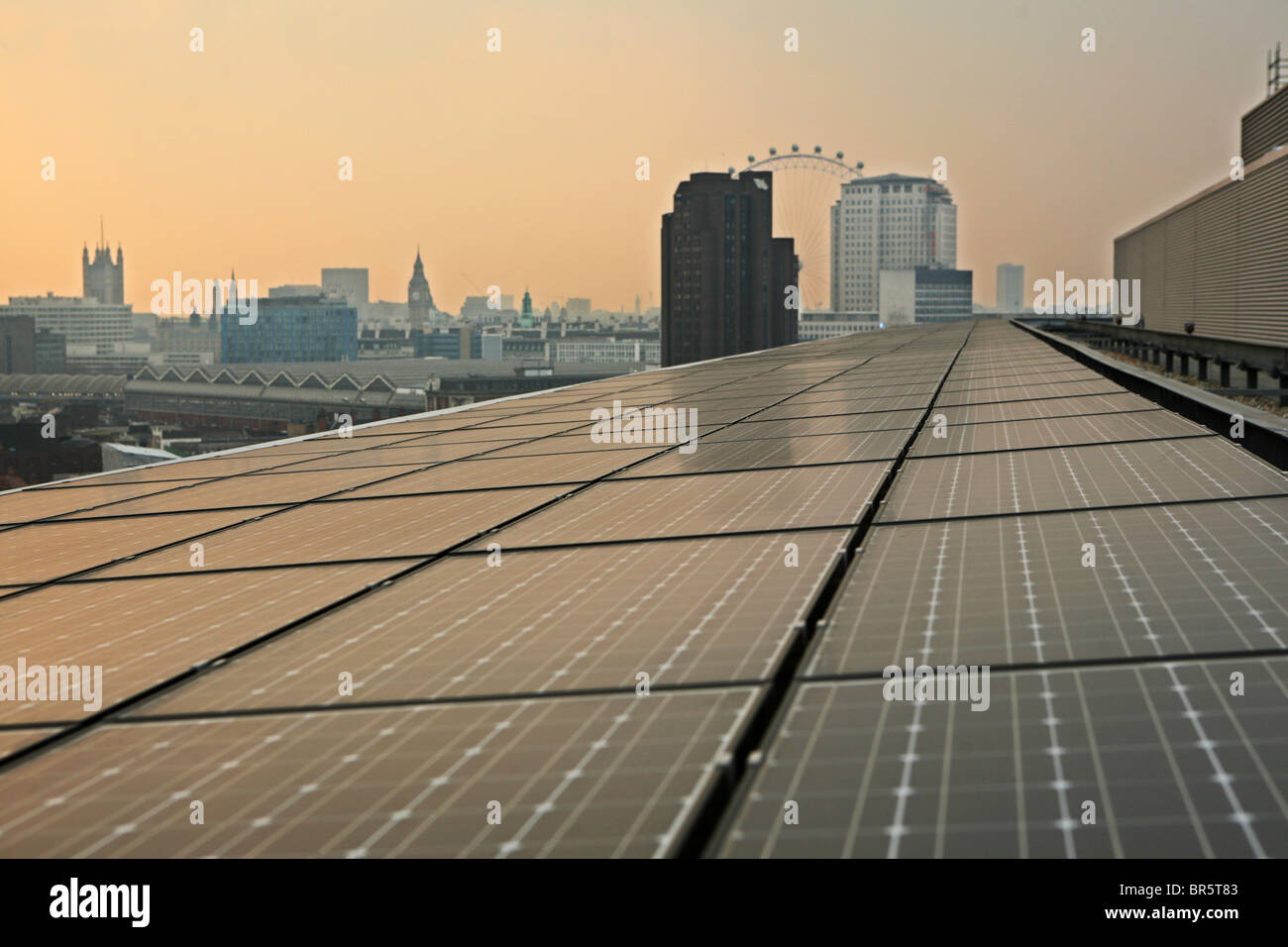 Solar Photovoltaic (PV) Panels on the roof of Palestra House, London Climate Change Agency and the London Development - Stock Image