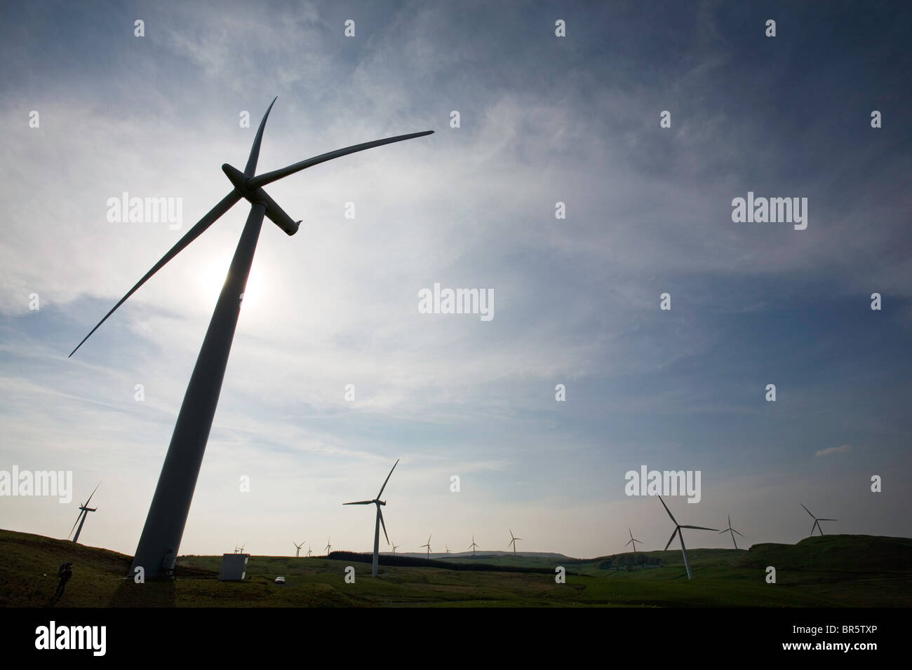 Hadyard hill wind farm in South Ayrshire has 52 wind turbines. It generates over 120MW of zero carbon electricity. - Stock Image