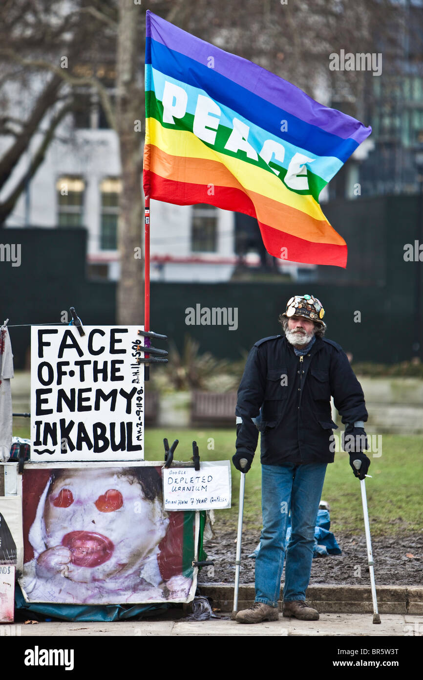 Brian Haw, a veteran peace protestor at parliament square in London, UK. Brian has been protesting at the square - Stock Image