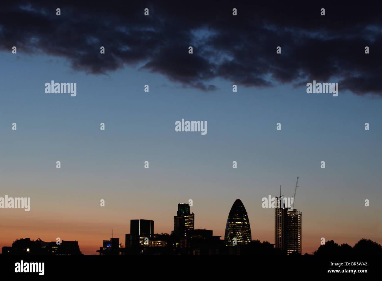 City of London at Night - Stock Image