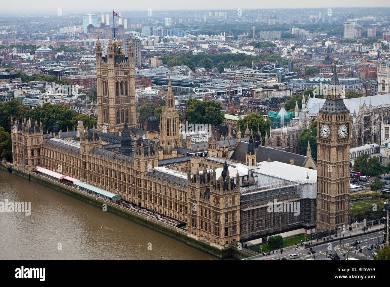An aerial view of the The Palace of Westminster, also known as the Houses of Parliament. London. - Stock Image
