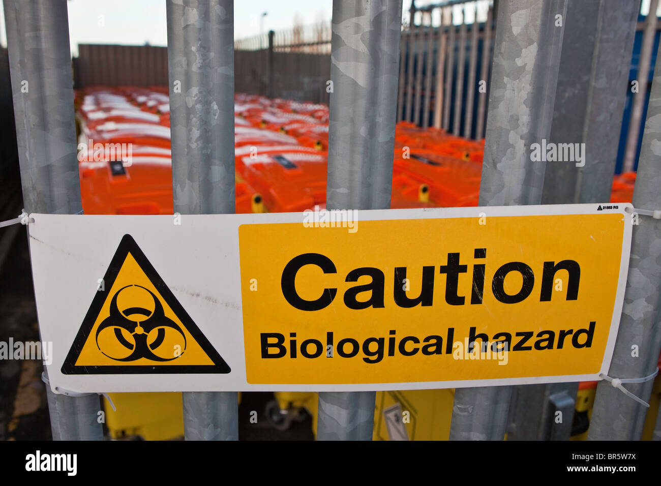 The bio-hazard bin store at the rear of Queen Charlotte's & Chelsea hospital, London, United Kingdom. - Stock Image