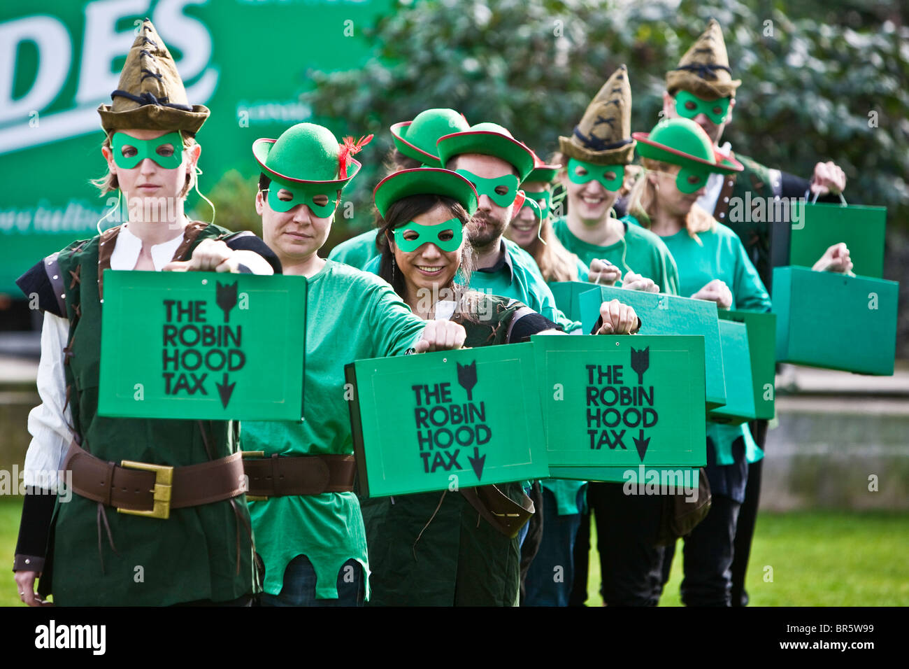 Robin Hood Tax campaign, the green-clad Robin Hoods marched to Stock