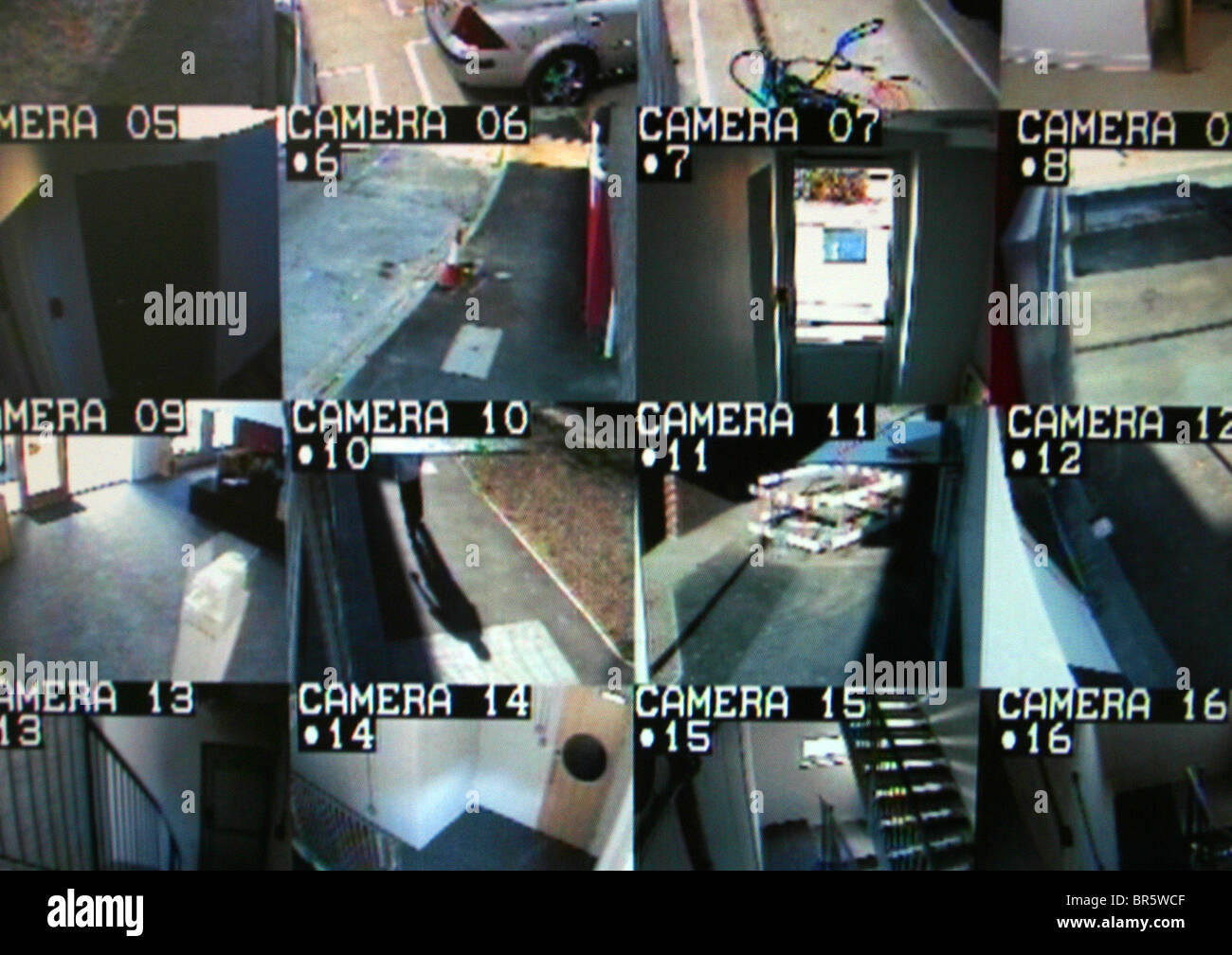 16 screens of a building CCTV security camera system Stock