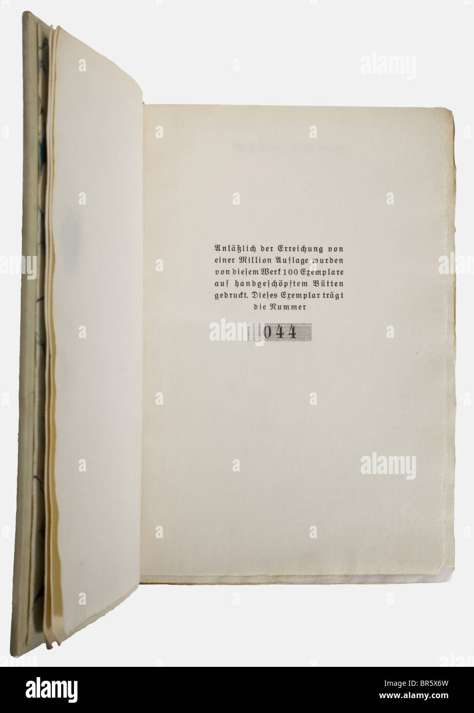 Adolf Hitler - Mein Kampf, a limited deluxe edition 1933 Complete edition with 782 pages of handmade paper. White, - Stock Image