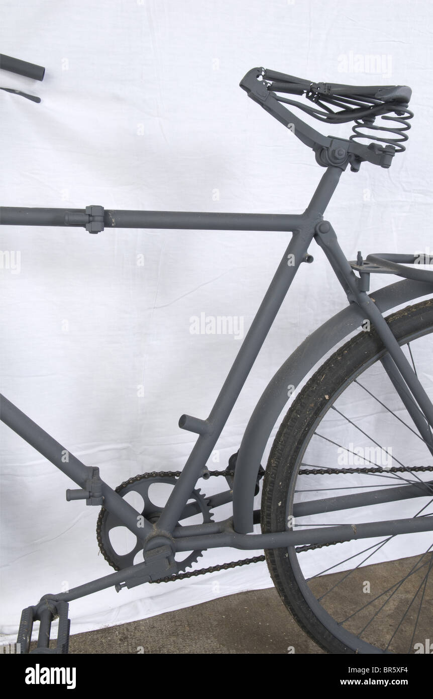 A Luftwaffe paratrooper's bicycle, foldable, restored. Lacking items: leather saddle, toolbox and handlebar handles. Stock Photo