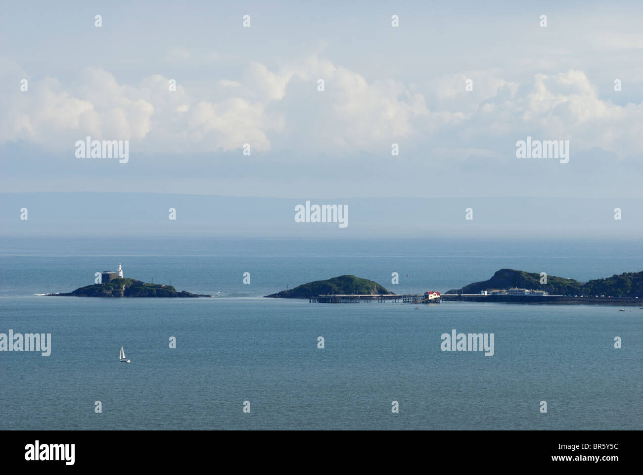 The Mumbles, Swansea, with the coast of North Devon behind Stock Photo