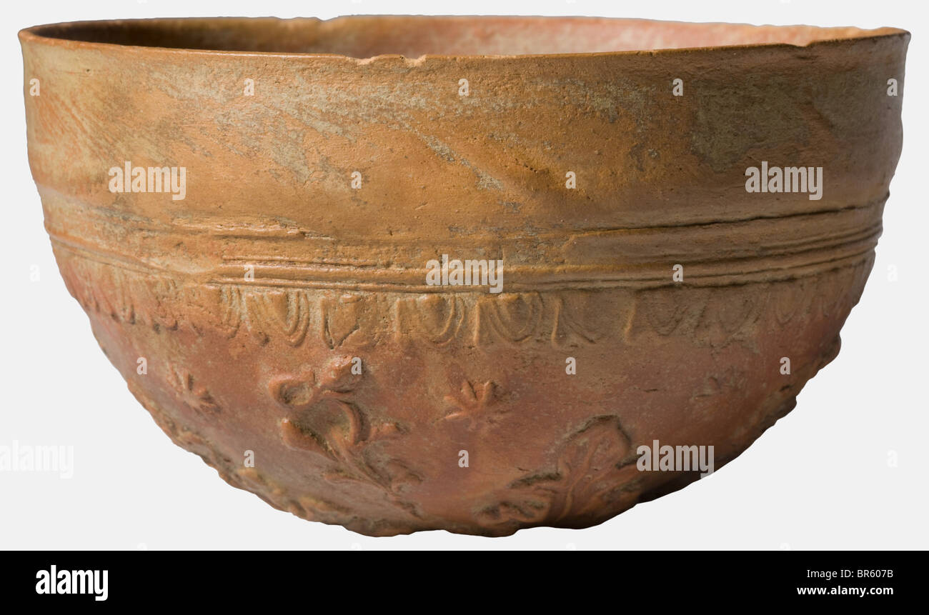A Hellenistic, Megarian bowl, 2nd/1st century B.C. Red-brown pottery, formed in a mold. Beautiful decorations in - Stock Image