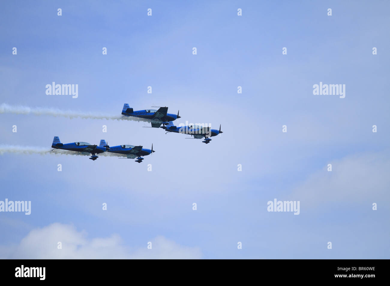 The Blades formation Aerobatic Display Team at Eastbourne Air Show, East Sussex, England. - Stock Image