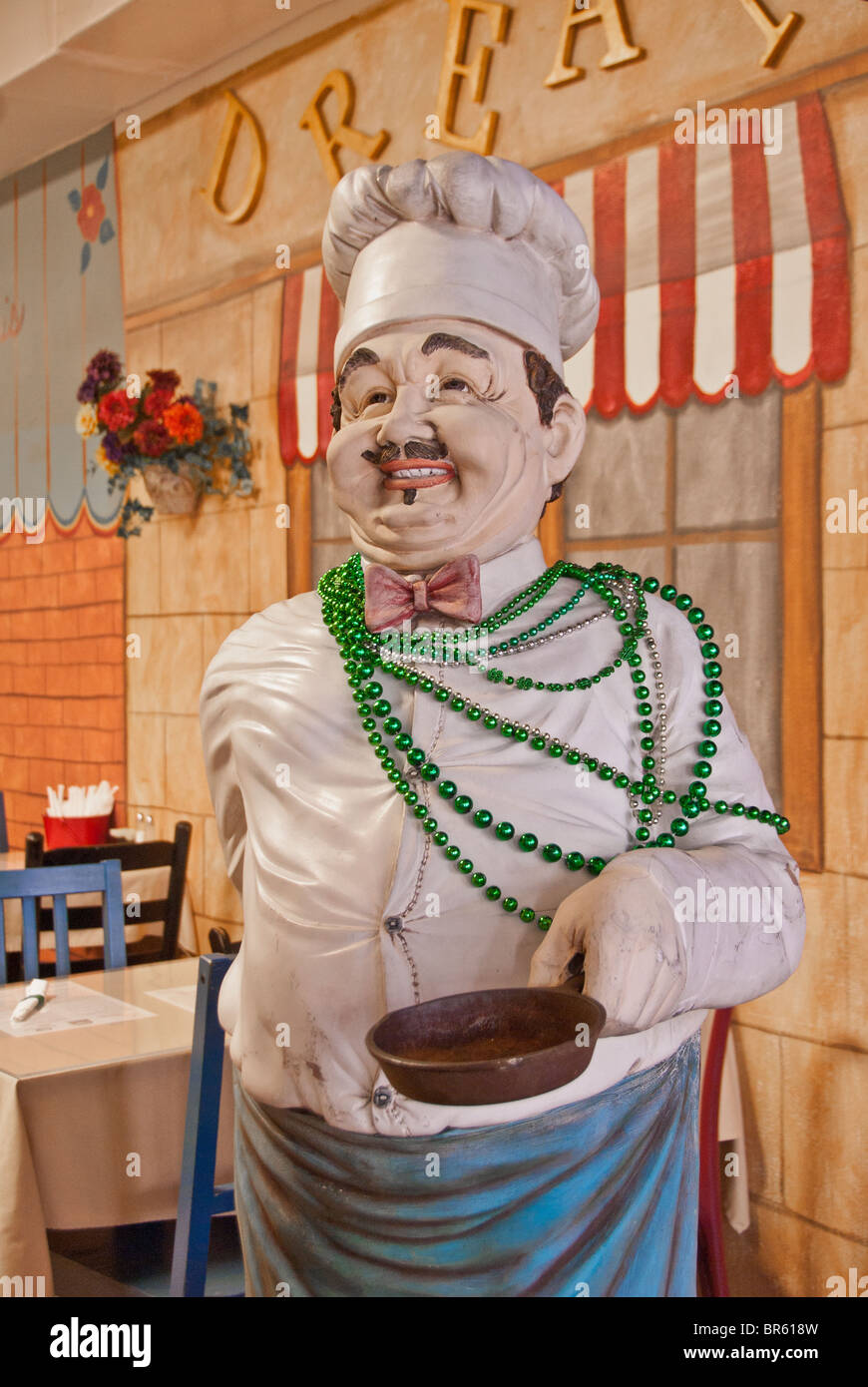 Life-size figure of a chef in 'Downtowner's on Dauphin' Cafe in Mobile, Alabama, USA - Stock Image