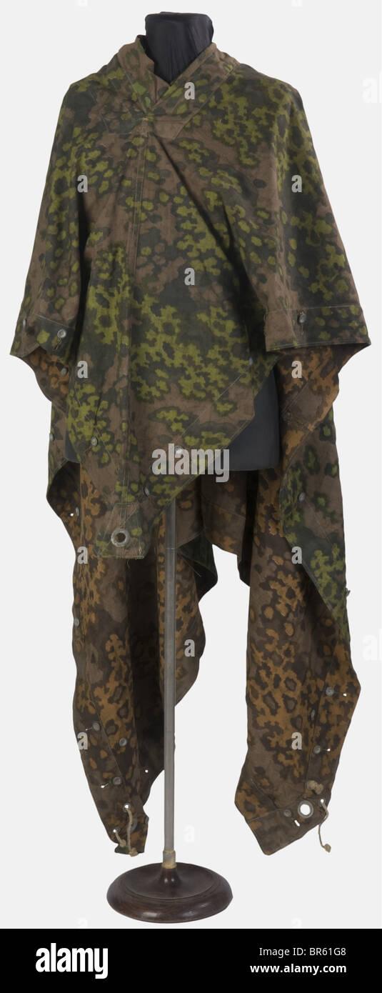 SCHUTZSTAFFEL, Poncho camouflé de la Waffen-SS, Camouflage réversible printemps-automne, , Additional - Stock Image