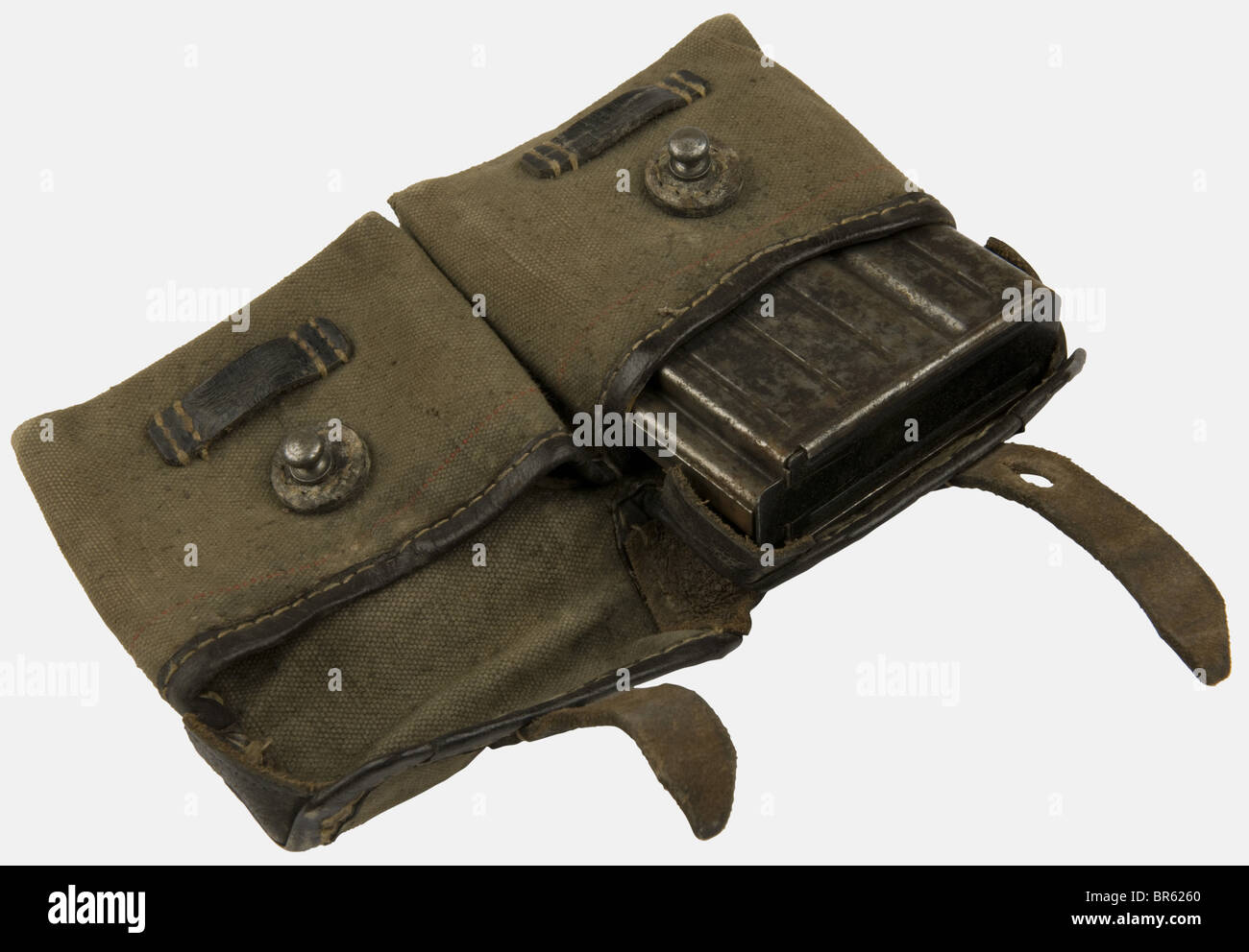A G 43 double magazine pouch., Canvas and artificial leather, black leather straps on the back, stamped 'KAR - Stock Image