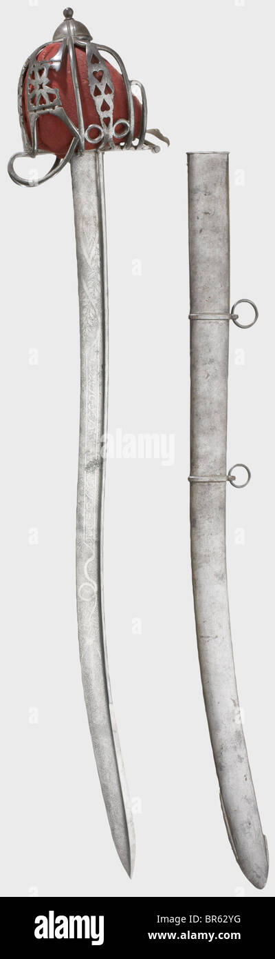 A broadsword pattern 1828 for officers, special issue for Highlander Regiments. Curved, pipe-backed blade with yelmen, - Stock Image