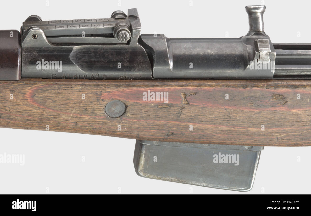 A self-loading rifle G 41(W), code 'duv 43', 8 x 57 cal., no. 5189h, carrier with bolt housing and receiver - Stock Image