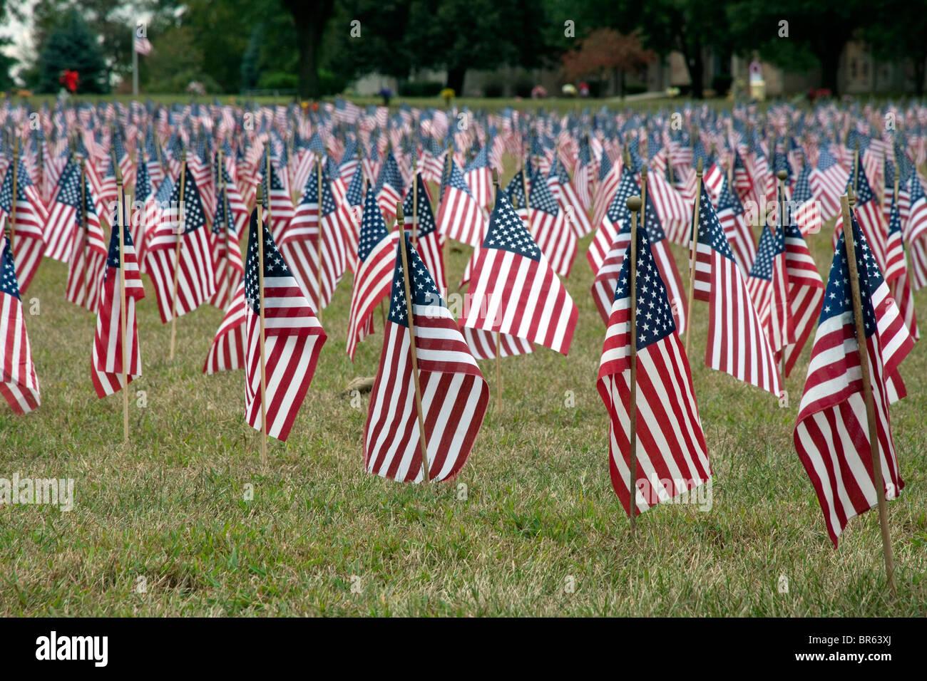 9-11 Flag Commemoration Michigan USA - Stock Image