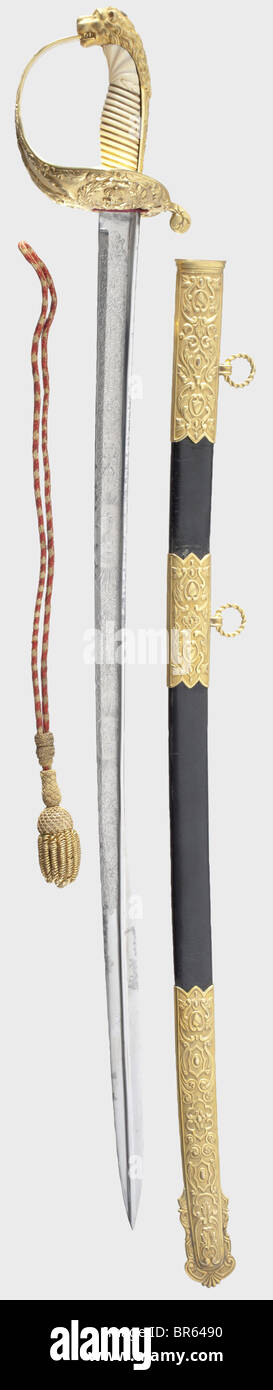 A splendid honour sabre presented by the Spanish government to the British Commander of H.M.S. 'Spiteful', - Stock Image