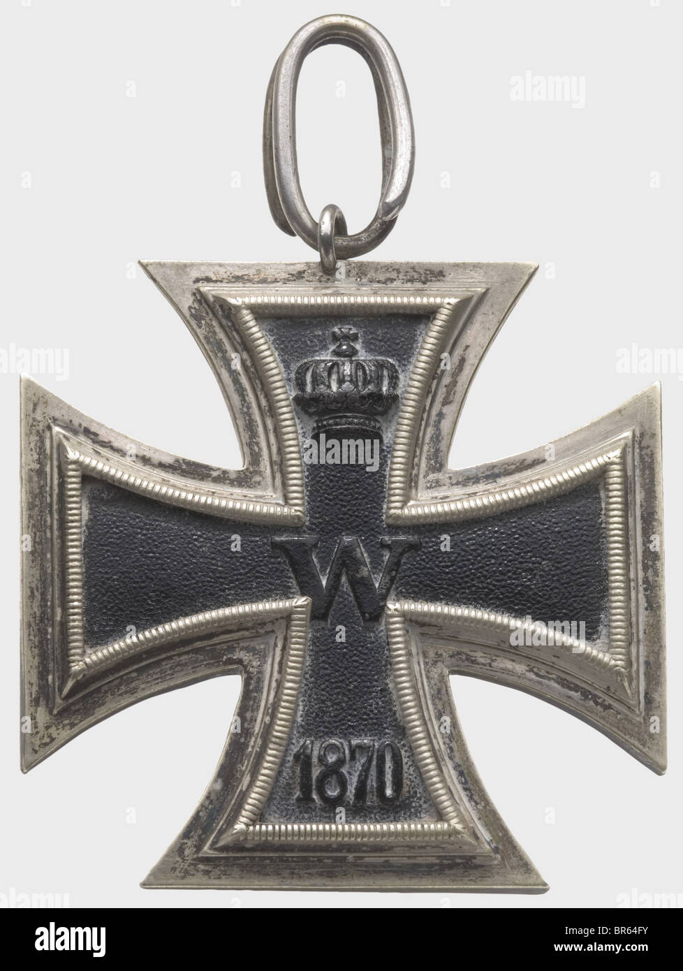 Iron Cross of 1870 - Grand Cross., Blackened iron core in a silver frame, suspension ring on transverse eyelet. - Stock Image