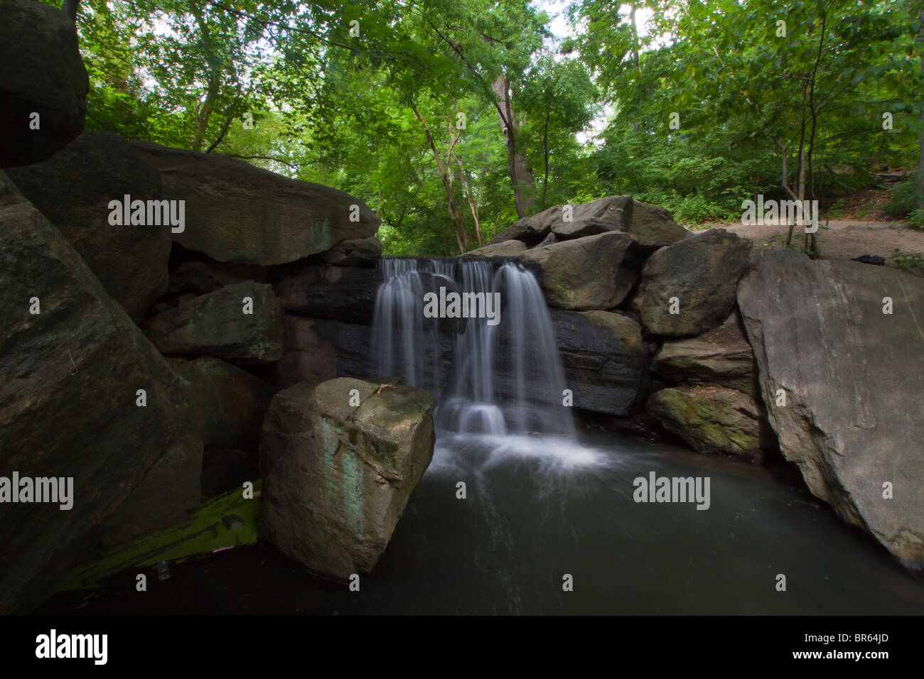 Waterfall in the North End of Central Park - Stock Image