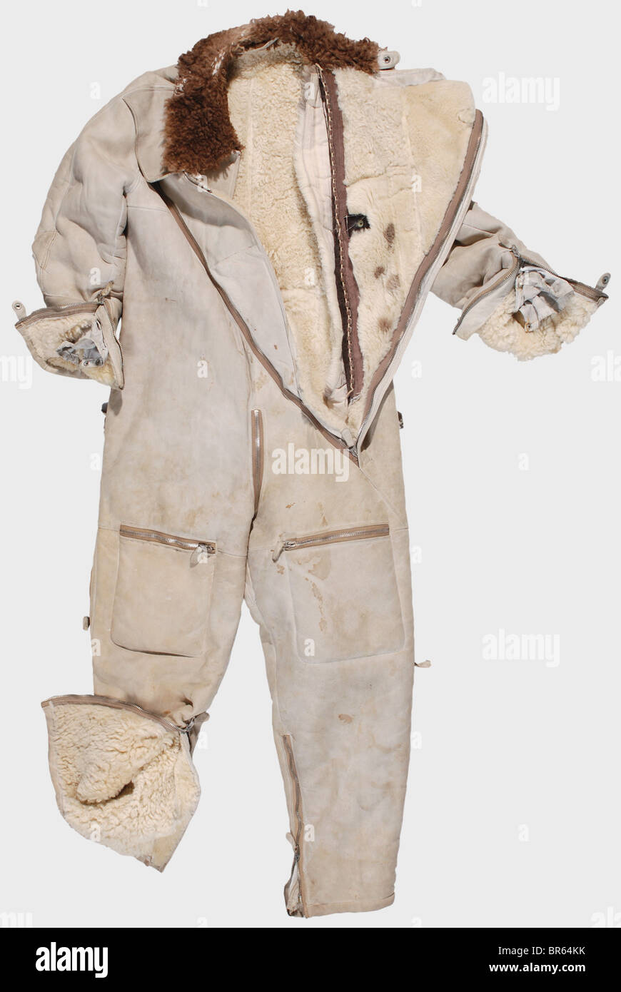 A special Arctic flying suit for Luftwaffe pilots., An LKp W101 brown leather flying helmet with fleece lining, - Stock Image