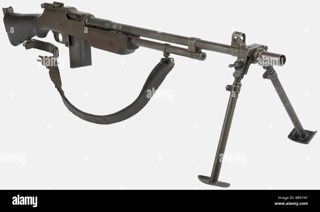 ARMES A FEU, Fusil mitrailleur américain BAR, calibre 30/06, numéro 624713, fabrication N.E.E. Smalls - Stock Image