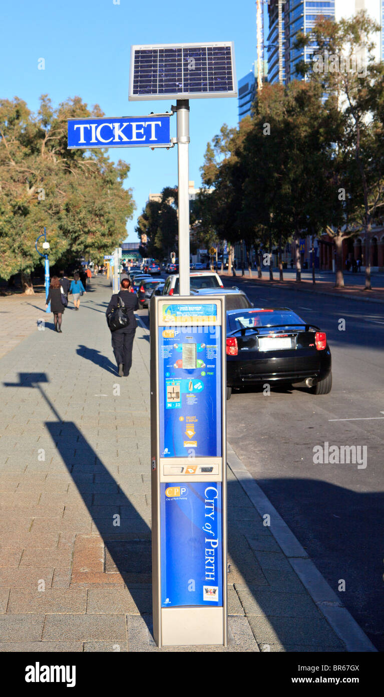 Solar powered parking meter - Stock Image