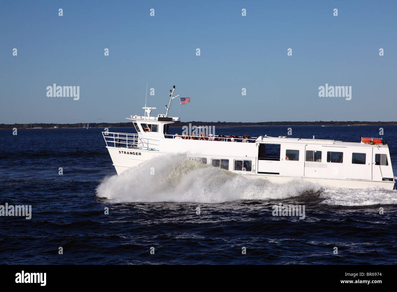 the stranger ferry plowing through the waters of the great south bay