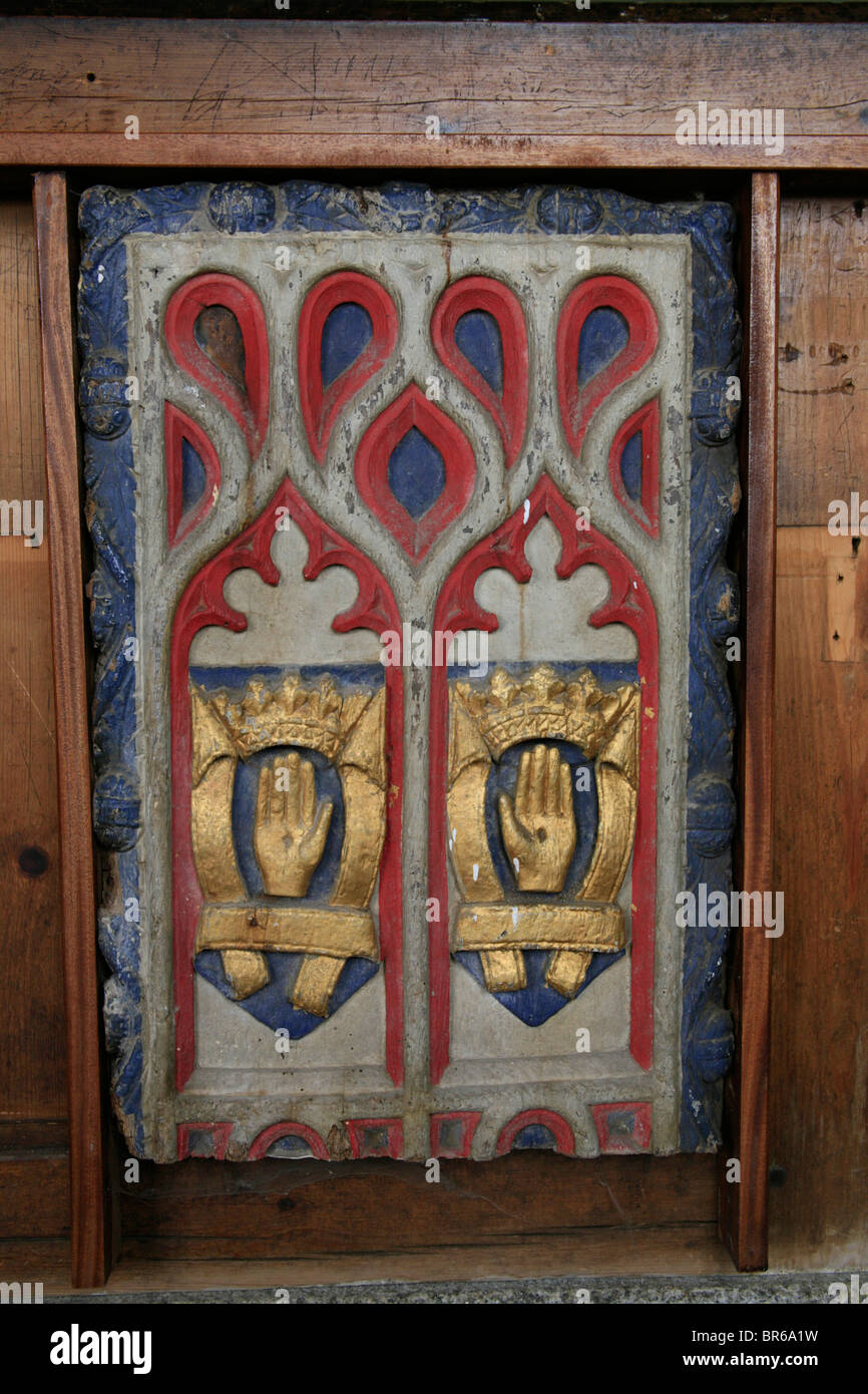 Painted Pew Ends, St Breward Church, Cornwall, depicting two of the Sacred Wounds of Glory, Stock Photo