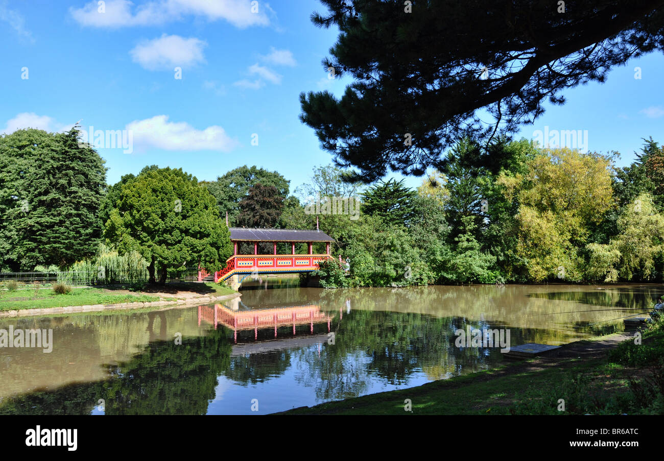 The Swiss Bridge in Birkenhead Park - Stock Image