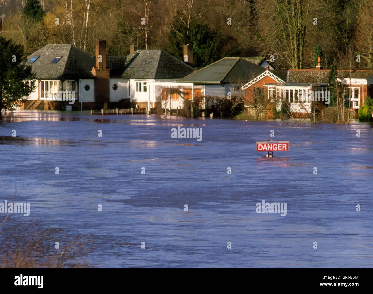 England Buckinghamshire Marlow Thames Floods - Stock Image