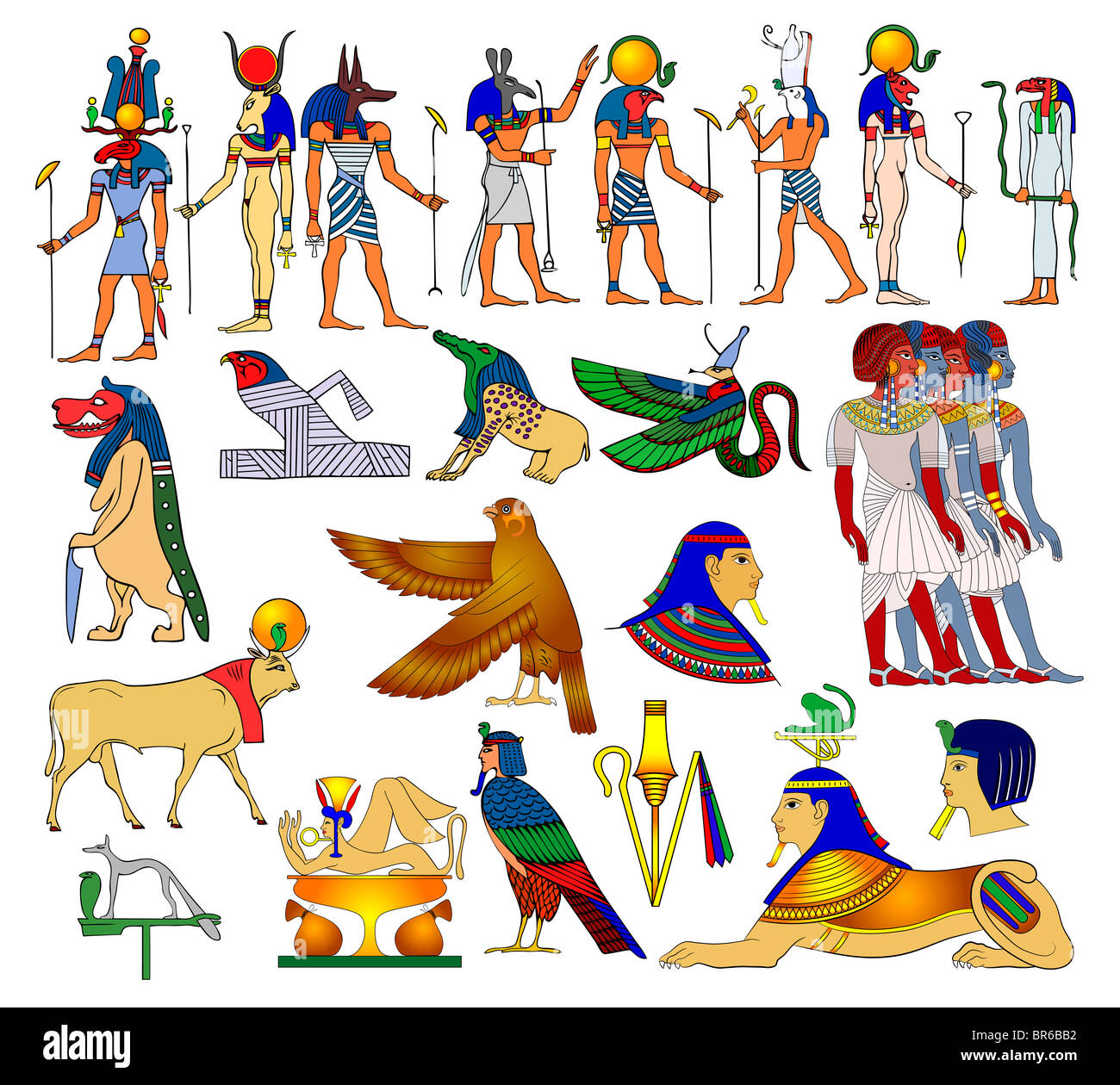 Vector illustration - Egyptian themes, gods, goddess, monster and creatures - Stock Image