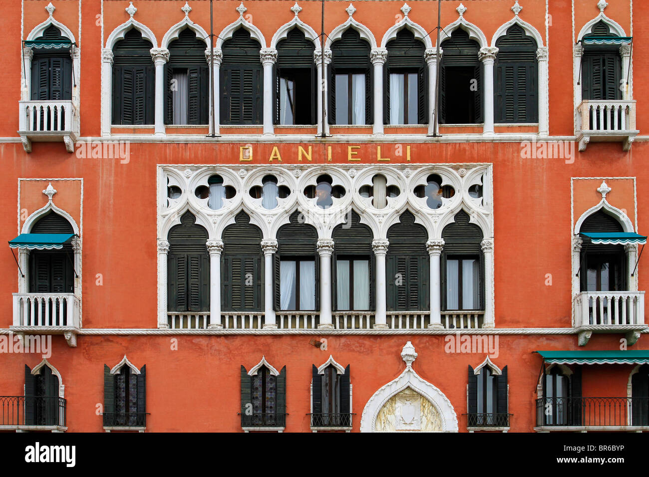 Facade Of The 5 Star Hotel Danieli In Venice Italy Stock