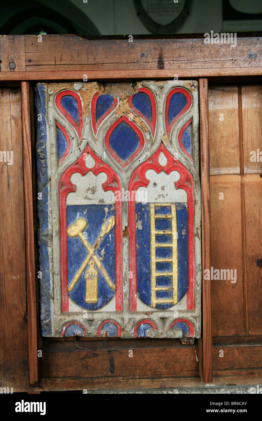 Painted Pew Ends, St Breward Church, Cornwall, depicting the Arma Christi, of Symbols of the Passion - Stock Image