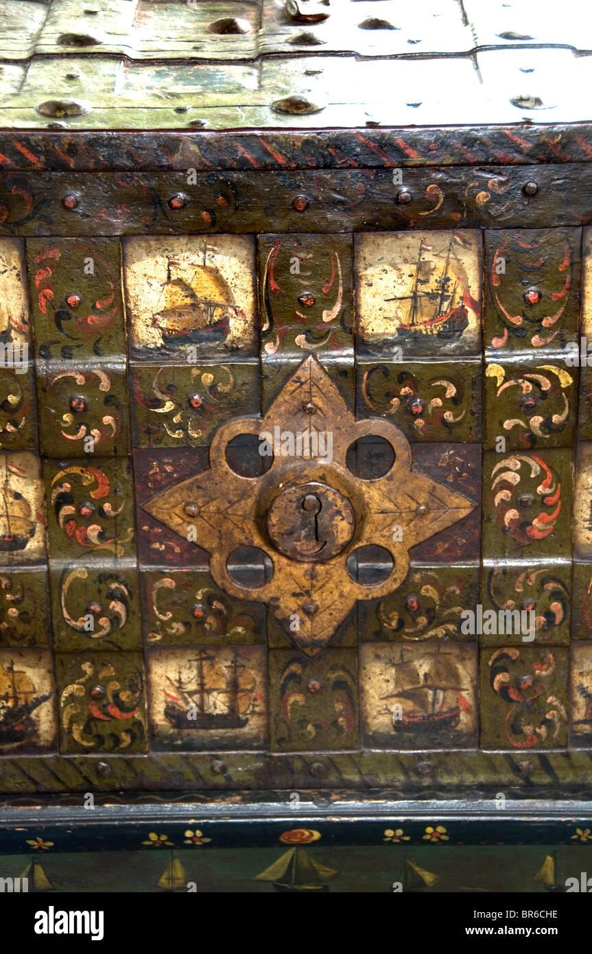 Netherlands old money strongbox coffer till VOC - Stock Image