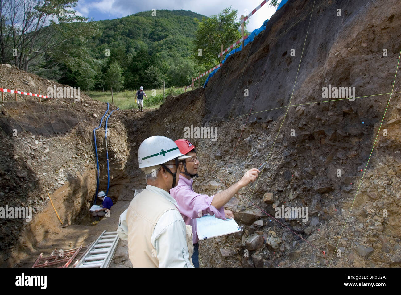 Trench work on a fault in Japanese Alps. - Stock Image