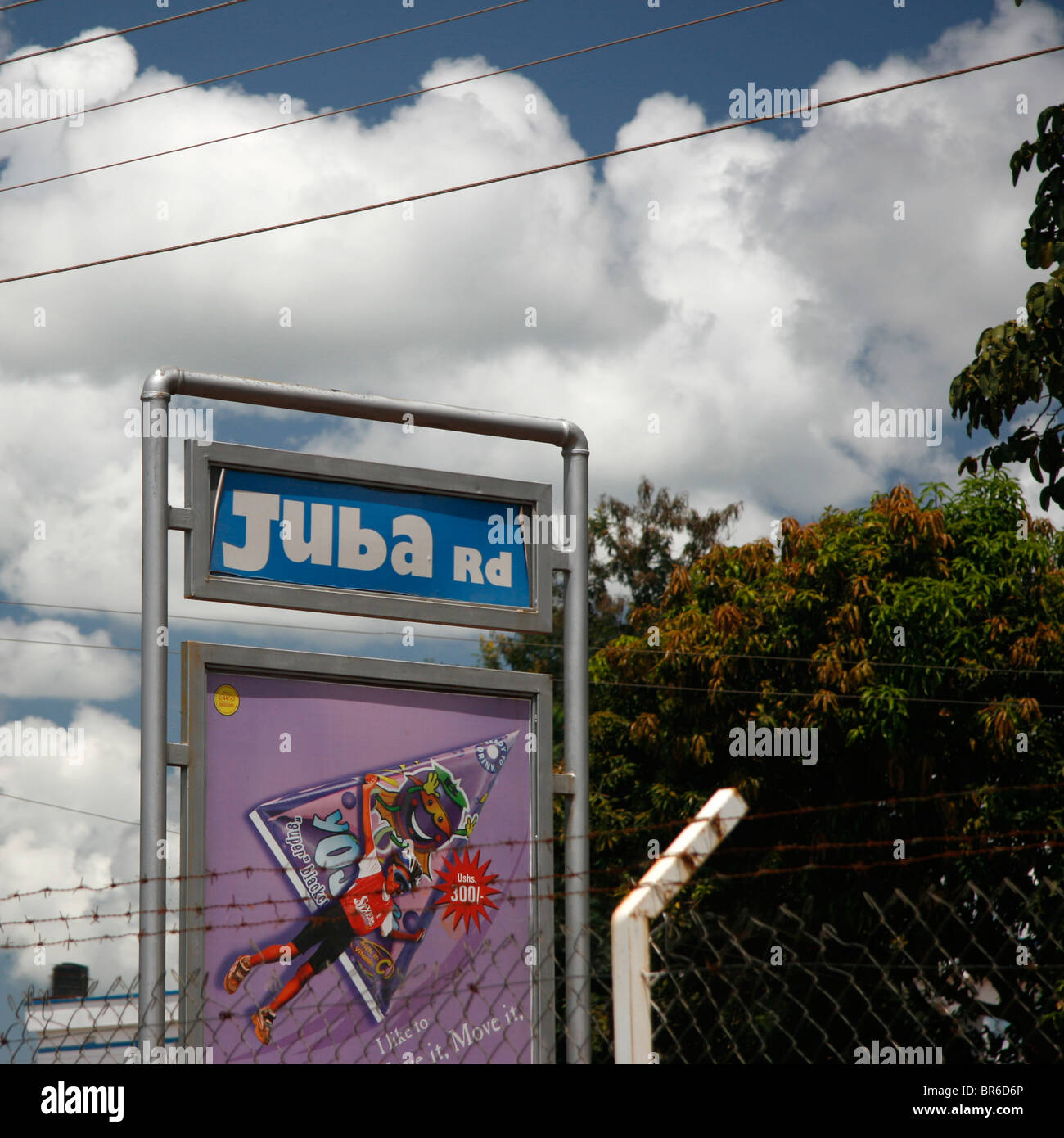 A signboard in Gulu, Uganda, giving the name of the road leading north to Juba in southern Sudan - Stock Image