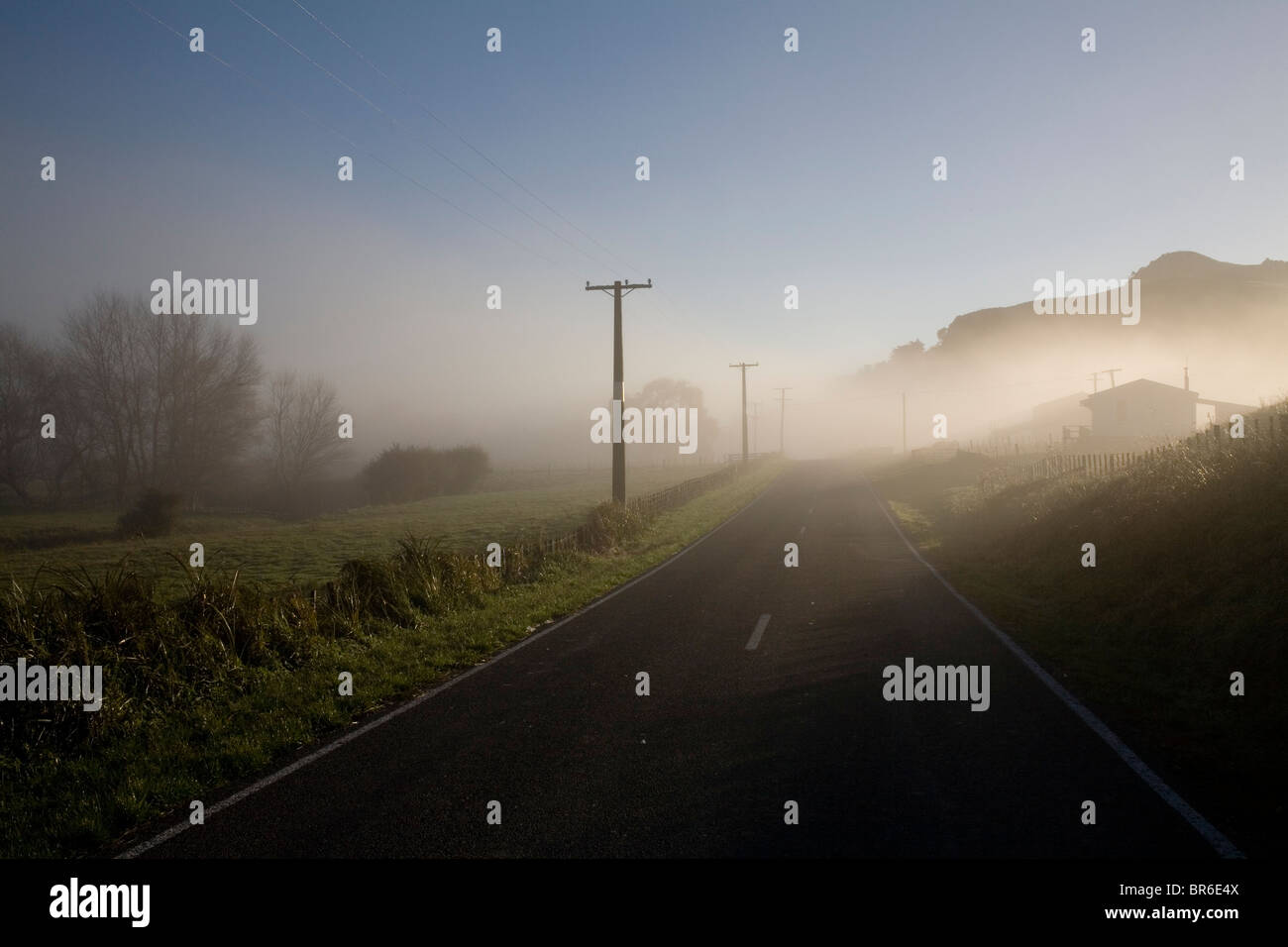 A misty country road in Tolaga Bay on New Zealand's East Cape. - Stock Image