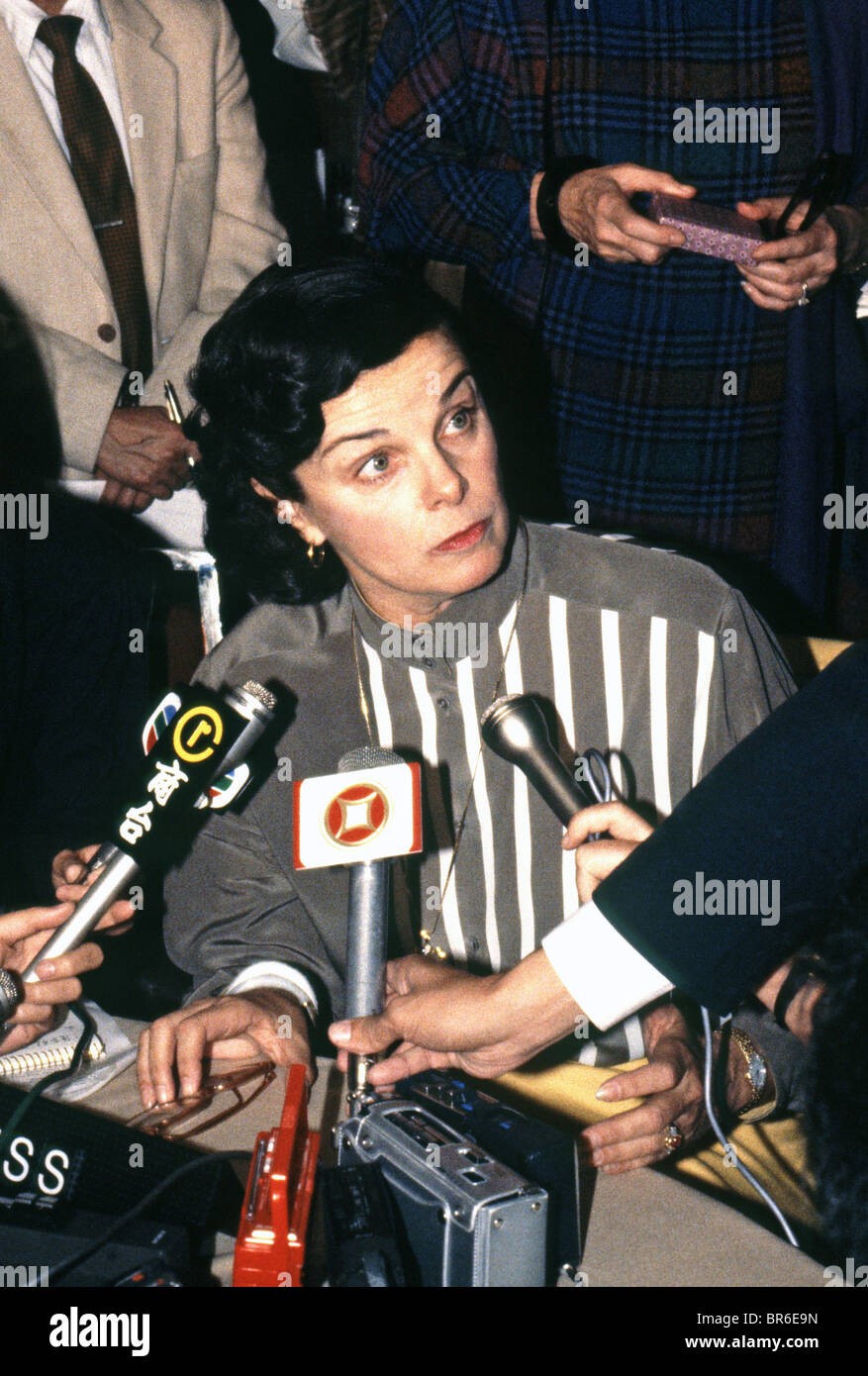 San Francisco, Mayor, Dianne Feinstein, press conference in Hong Kong, 1984 - Stock Image