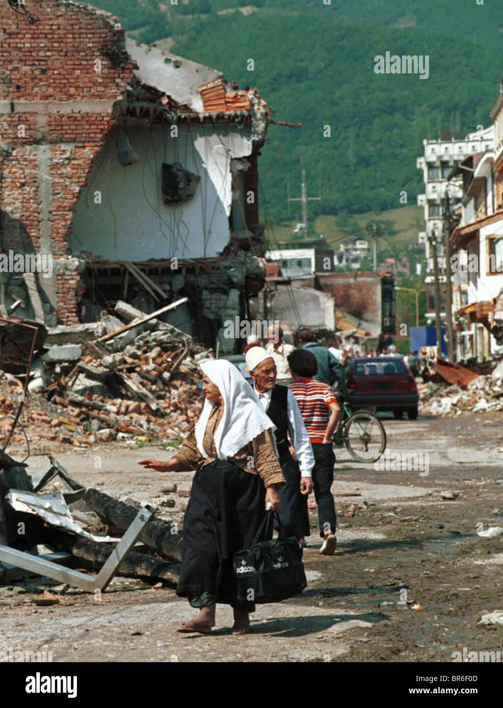 City destruction in Pec, Kosovo. Stock Photo