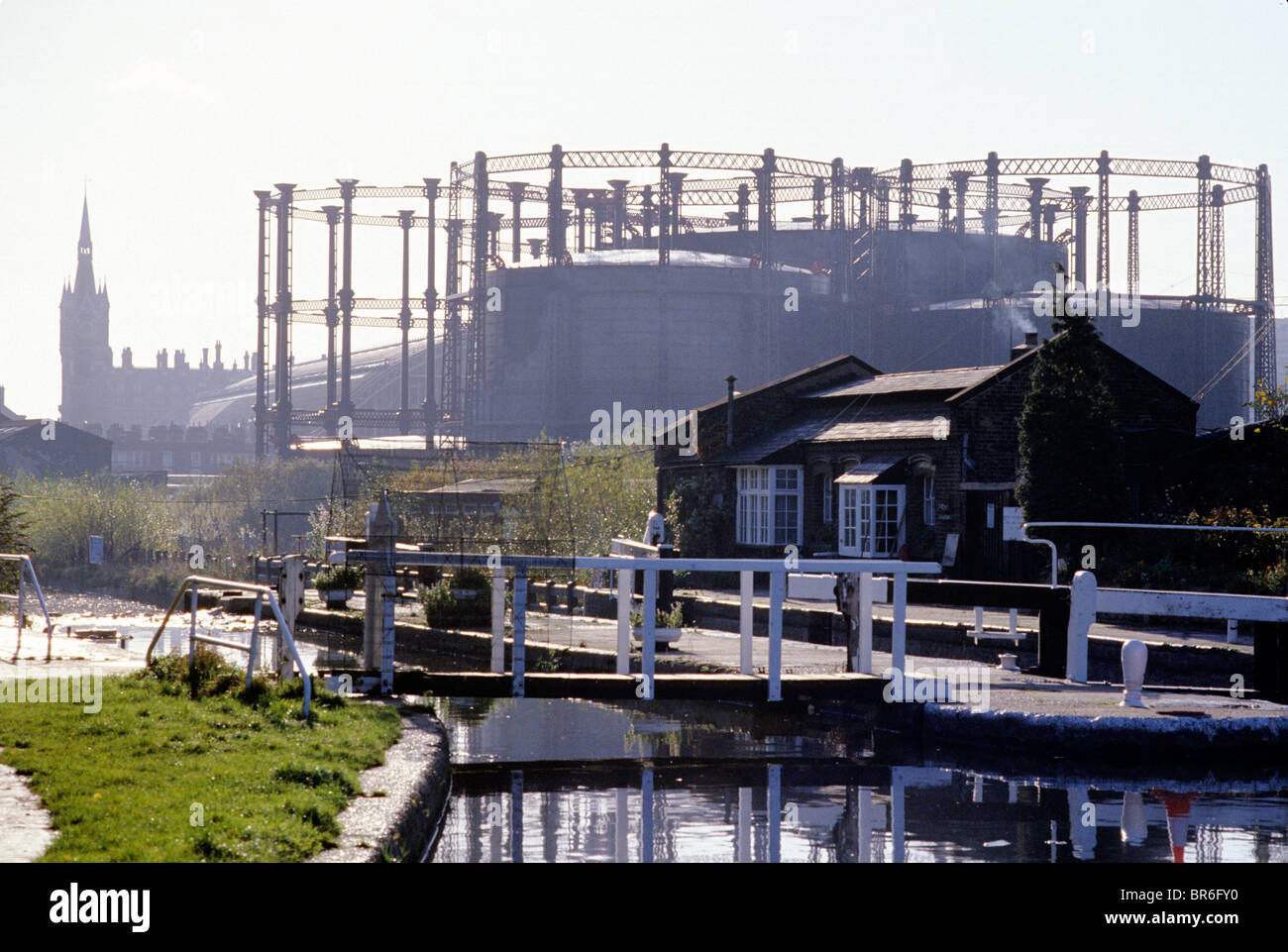 St. Pancras Lock, Regents Canal, Camley Street Gas Holders London England UK gasometer gasometers holders English Stock Photo