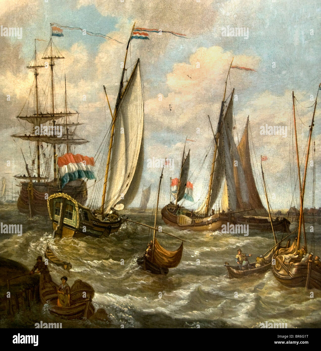 Netherlands Painting Dutch Sailing Vessels IJsselmeer Flag - Stock Image