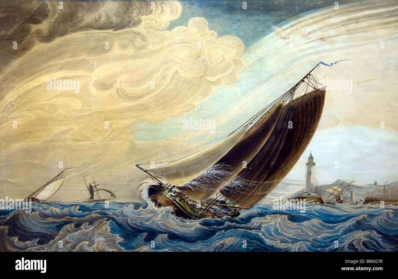 Netherlands Wiebe Annes Visser Z 1811 Zuiderzee Sea Palingaken Hindelopen Painting Eel Ship - Stock Image