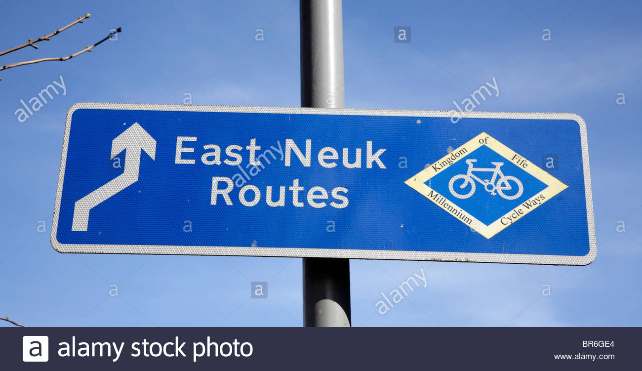Sign for East Neuk Routes, Fife - Stock Image