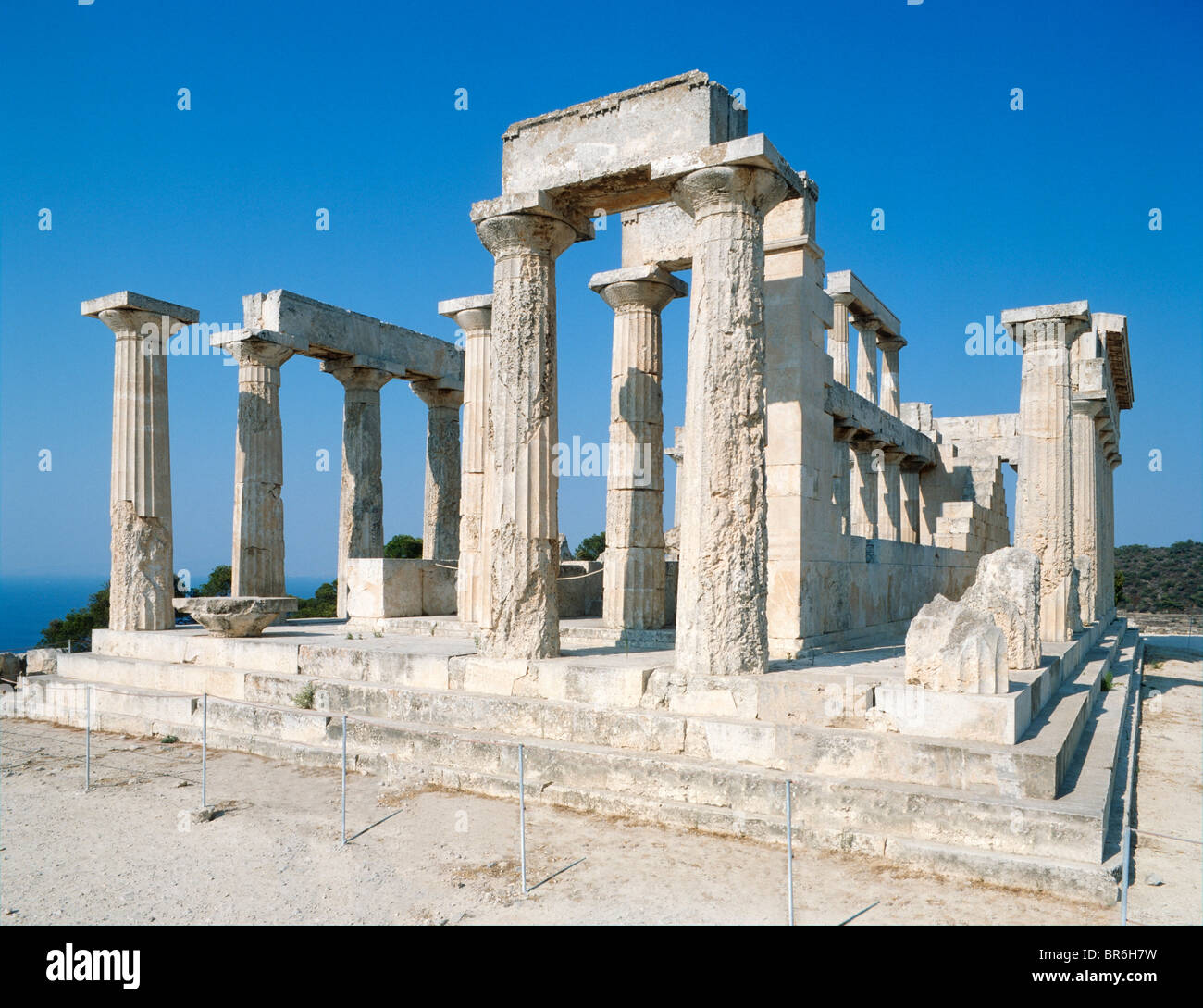 Ruins of the Temple of Afea, Aegina, Saronic Islands, Greece - Stock Image