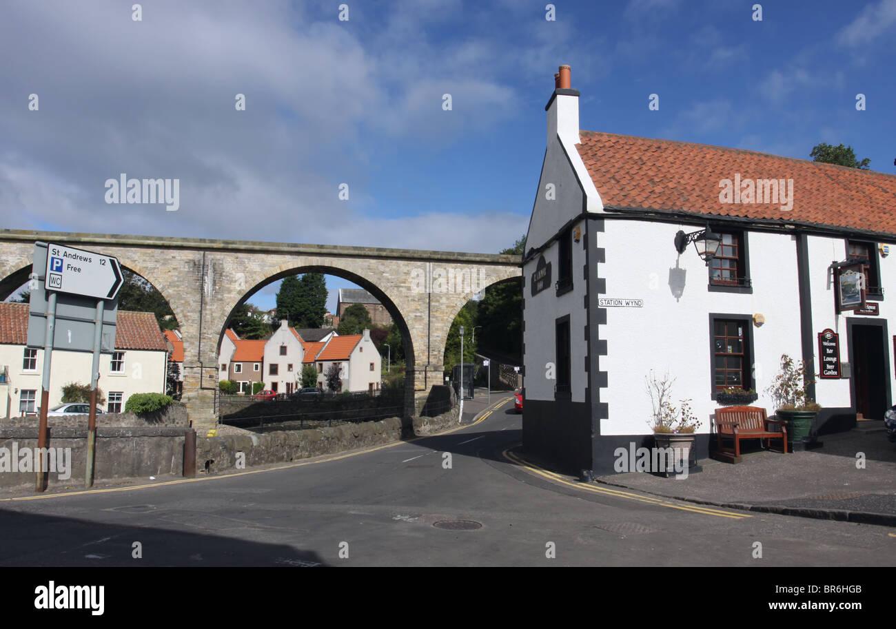 Viaduct and Railway Inn Lower Largo Fife Scotland  September 2010 - Stock Image