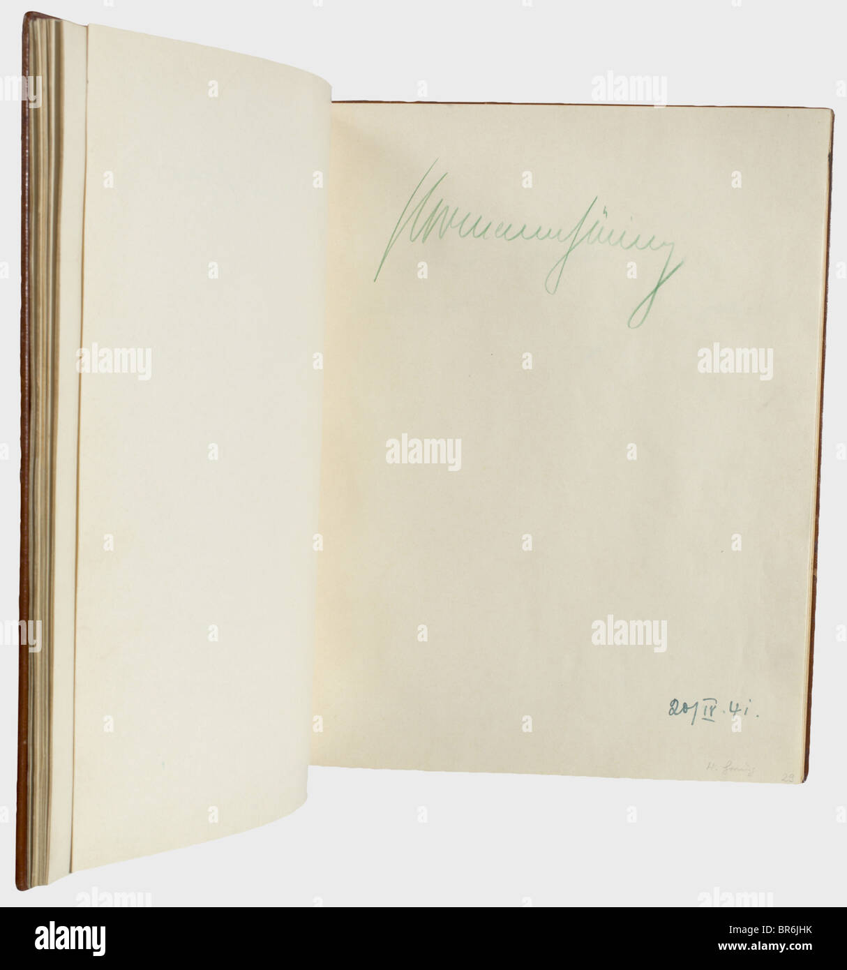 A guest book of the Panhans hotel on the Semmering., Brown leather cover with gold impression and gilt edging, on Stock Photo