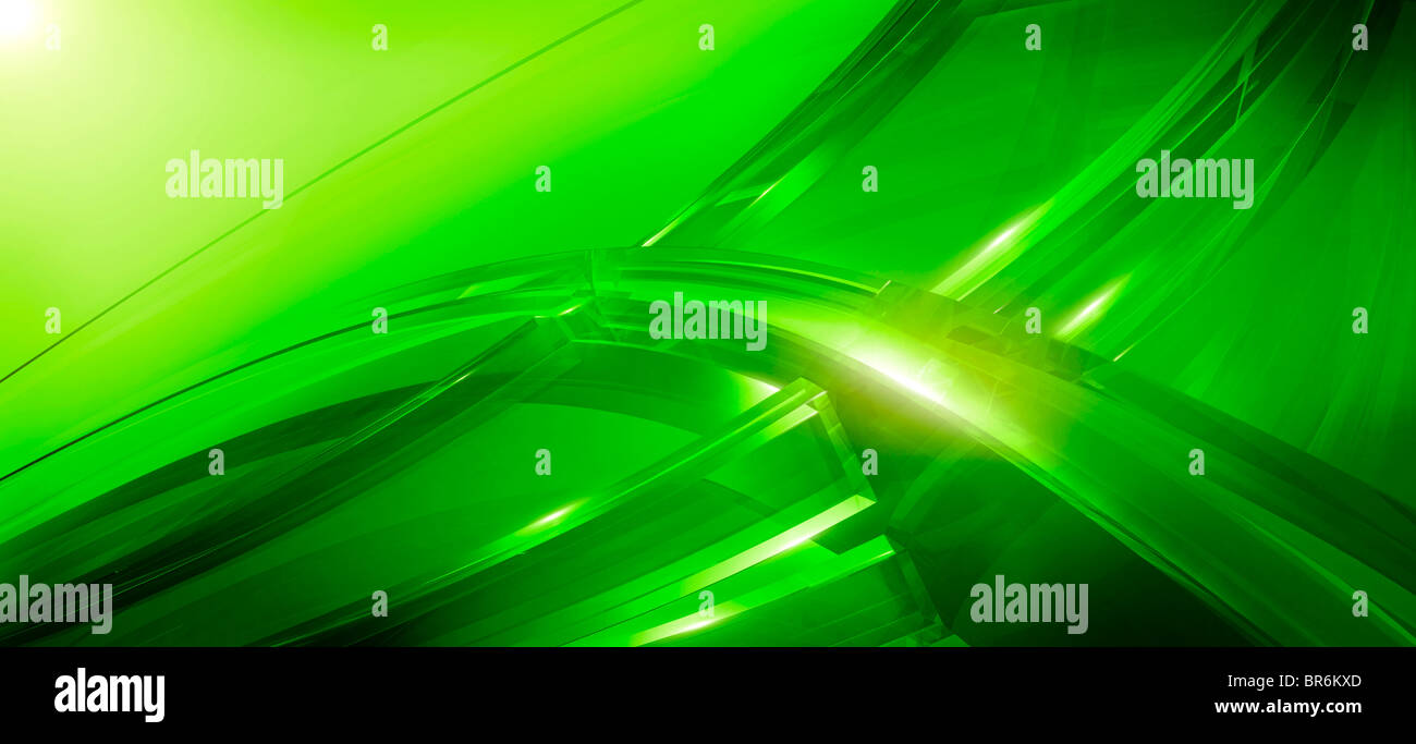 Three-dimensional curved lines in green Stock Photo