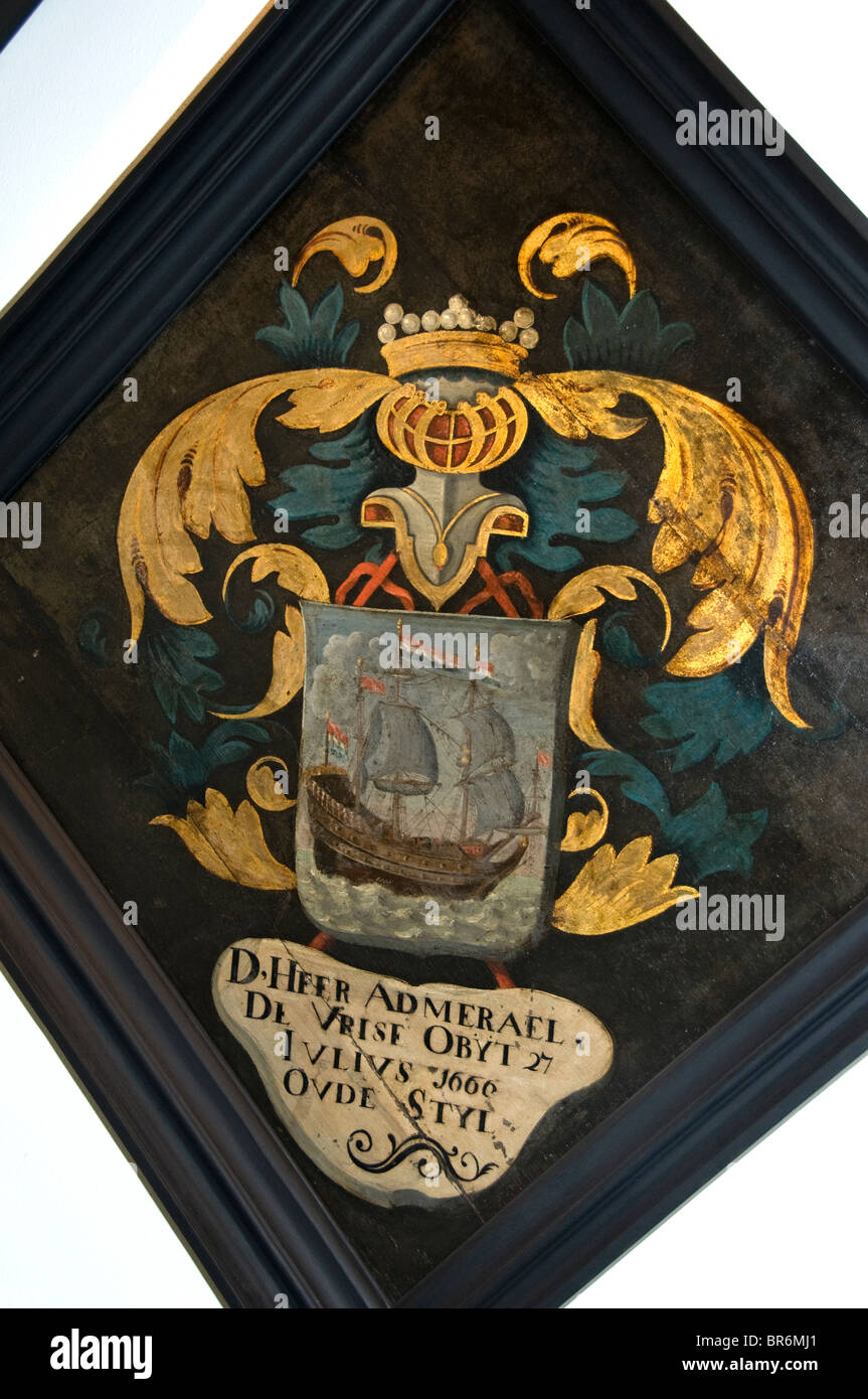 Netherlands Rouwbord Funeral Board Grave tumb sign 1666 Hiddes de Vries - Stock Image