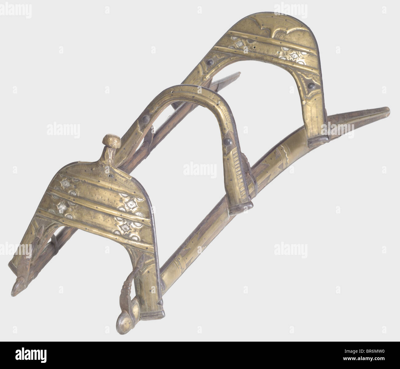 A camel saddle, for personnel of the Régiments de Dromadaire Wooden saddle tree and horns with iron reinforcements - Stock Image