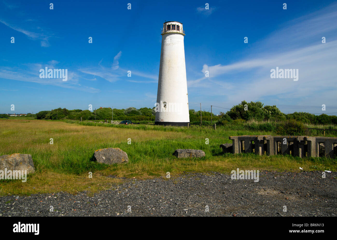 Leasowe Lighthouse was built in 1763 and is the oldest brick-built lighthouse in Britain. - Stock Image